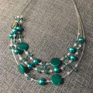 Multiple Rows Green Beaded Necklace